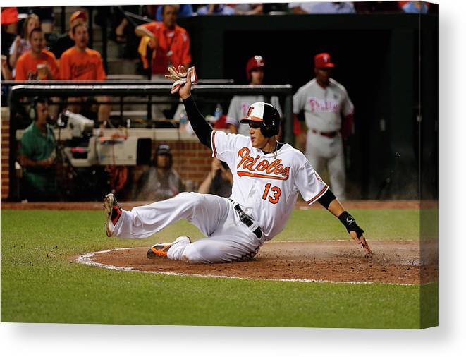 People Canvas Print featuring the photograph Manny Machado by Rob Carr