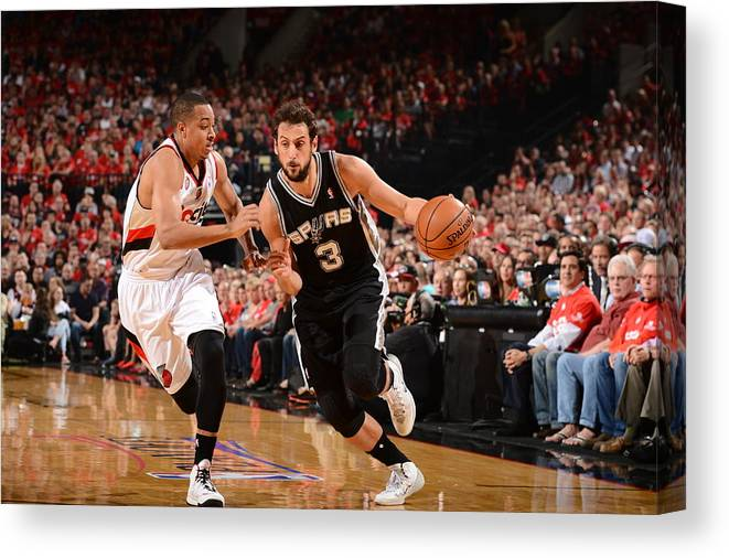 Playoffs Canvas Print featuring the photograph Marco Belinelli by Garrett Ellwood