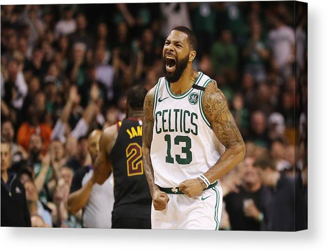 Playoffs Canvas Print featuring the photograph Marcus Morris and Lebron James by Maddie Meyer