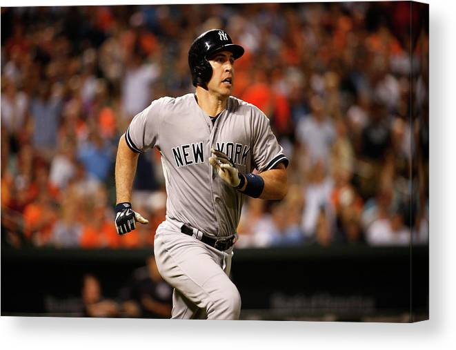 Following Canvas Print featuring the photograph Mark Teixeira by Rob Carr