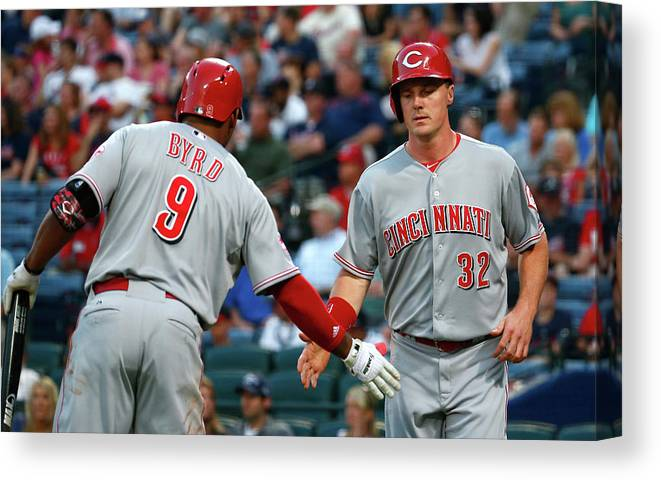 Atlanta Canvas Print featuring the photograph Marlon Byrd, Brandon Phillips, and Jay Bruce by Kevin C. Cox