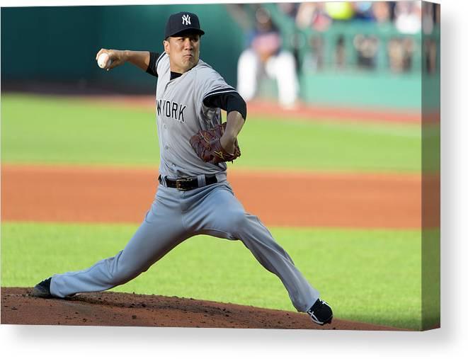 American League Baseball Canvas Print featuring the photograph Masahiro Tanaka by Jason Miller