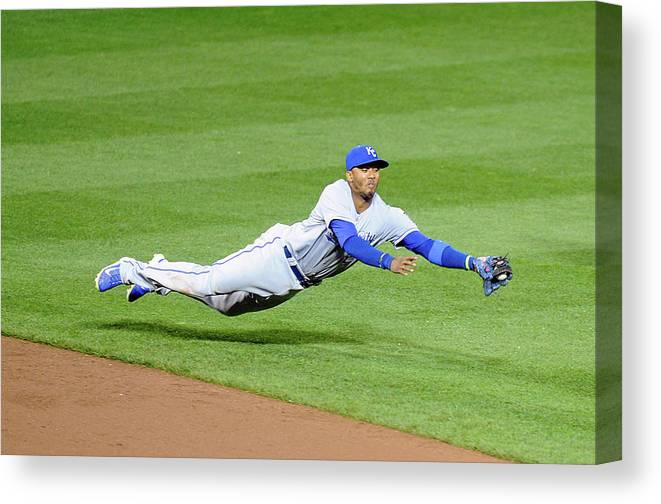 American League Baseball Canvas Print featuring the photograph Matt Wieters and Alcides Escobar by Greg Fiume