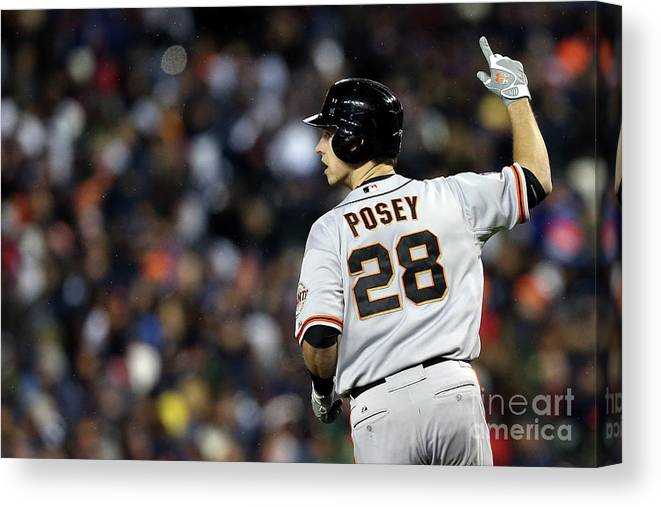 American League Baseball Canvas Print featuring the photograph Max Scherzer and Buster Posey by Ezra Shaw