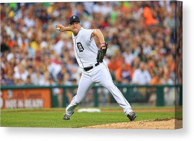 American League Baseball Canvas Print featuring the photograph Max Scherzer by Leon Halip