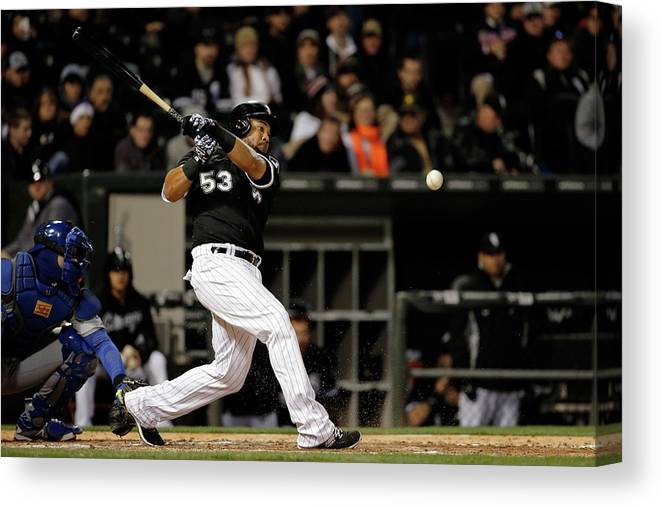 American League Baseball Canvas Print featuring the photograph Melky Cabrera by Jon Durr