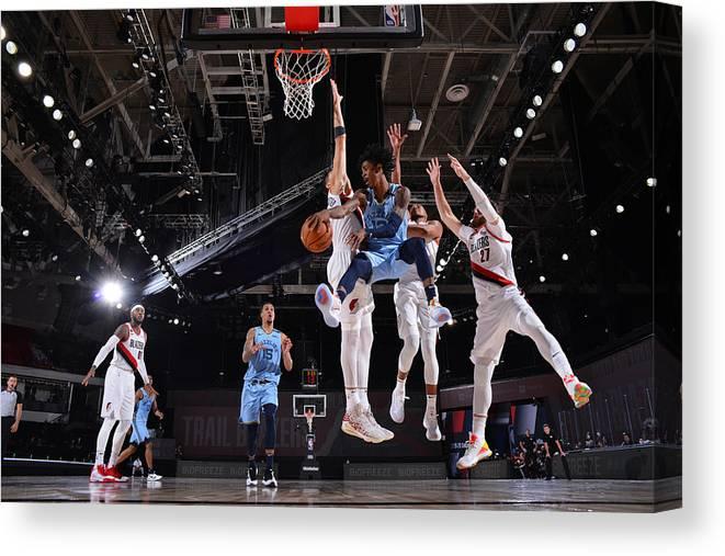 Nba Pro Basketball Canvas Print featuring the photograph Memphis Grizzlies v Portland Trail Blazers by Jesse D. Garrabrant