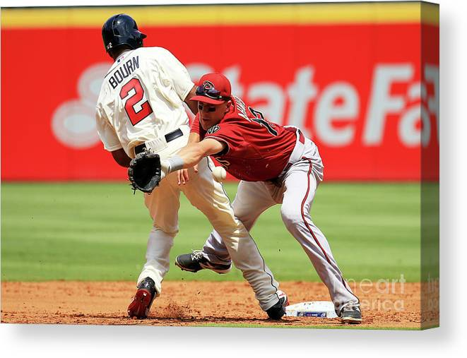Atlanta Canvas Print featuring the photograph Michael Bourn and Nick Ahmed by Daniel Shirey