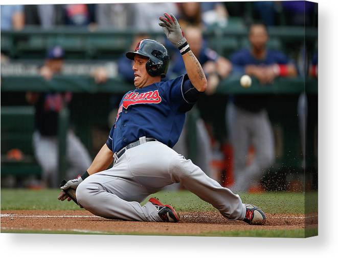 American League Baseball Canvas Print featuring the photograph Michael Brantley and Asdrubal Cabrera by Otto Greule Jr