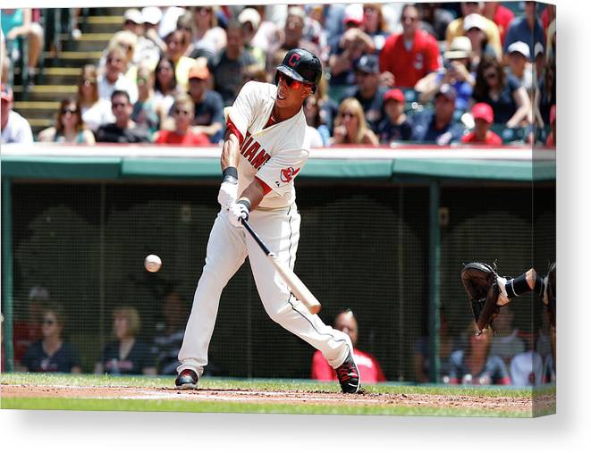 American League Baseball Canvas Print featuring the photograph Michael Brantley by David Maxwell