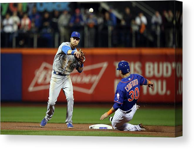 Playoffs Canvas Print featuring the photograph Michael Conforto and Ben Zobrist by Brad Mangin