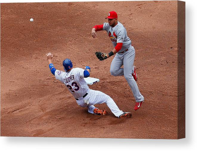 St. Louis Cardinals Canvas Print featuring the photograph Michael Cuddyer and Jhonny Peralta by Mike Stobe