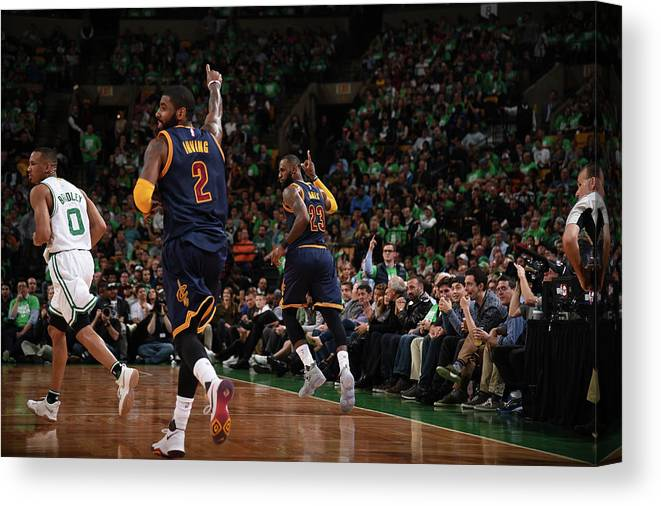 Playoffs Canvas Print featuring the photograph Michael Jordan and Lebron James by Brian Babineau