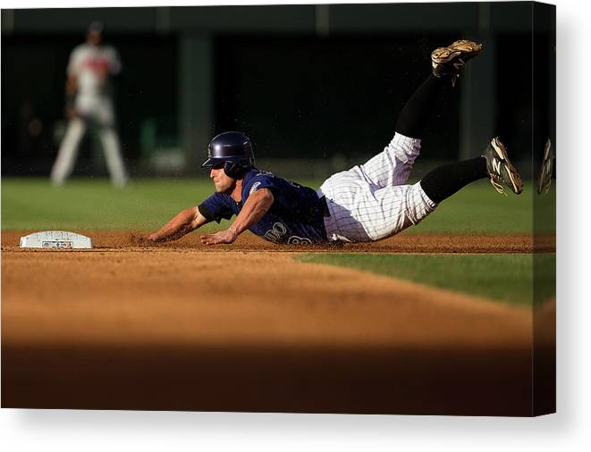Second Inning Canvas Print featuring the photograph Michael Mckenry by Justin Edmonds