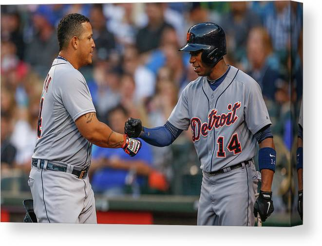American League Baseball Canvas Print featuring the photograph Miguel Cabrera and Austin Jackson by Otto Greule Jr
