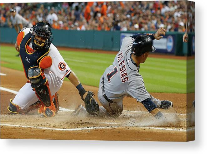 People Canvas Print featuring the photograph Miguel Cabrera and Hank Conger by Bob Levey