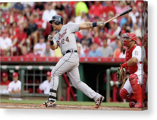 Great American Ball Park Canvas Print featuring the photograph Miguel Cabrera by Andy Lyons