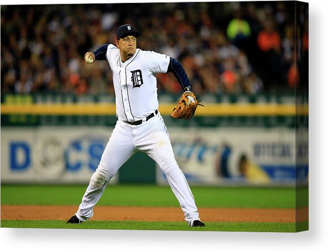 American League Baseball Canvas Print featuring the photograph Miguel Cabrera by Jamie Squire