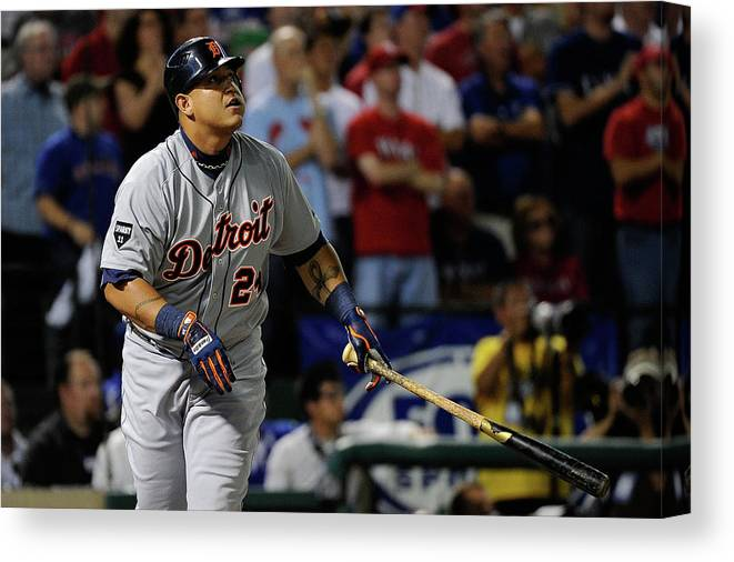 People Canvas Print featuring the photograph Miguel Cabrera by Kevork Djansezian