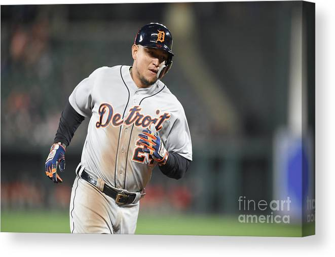 Three Quarter Length Canvas Print featuring the photograph Miguel Cabrera by Mitchell Layton