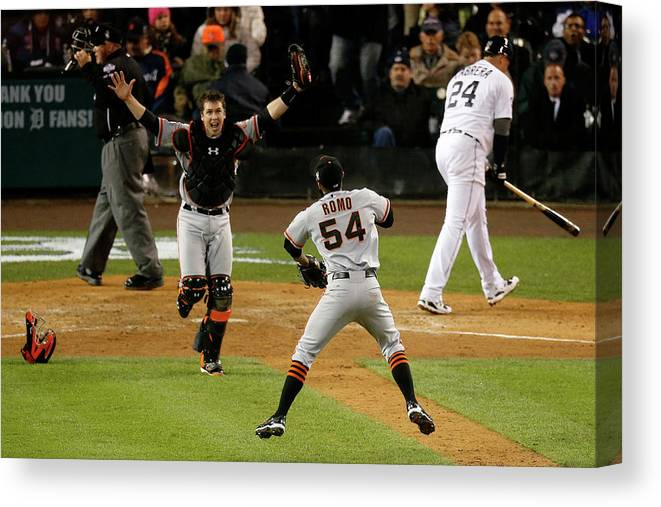 American League Baseball Canvas Print featuring the photograph Miguel Cabrera, Sergio Romo, and Buster Posey by Leon Halip