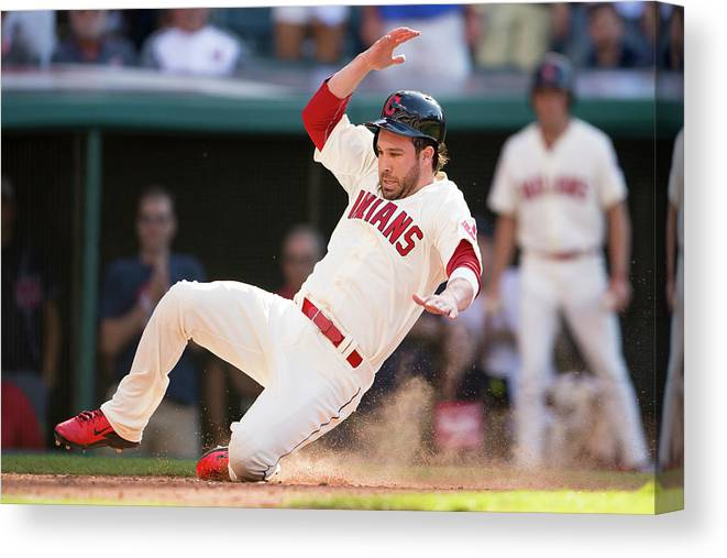 American League Baseball Canvas Print featuring the photograph Mike Aviles and Jason Kipnis by Jason Miller