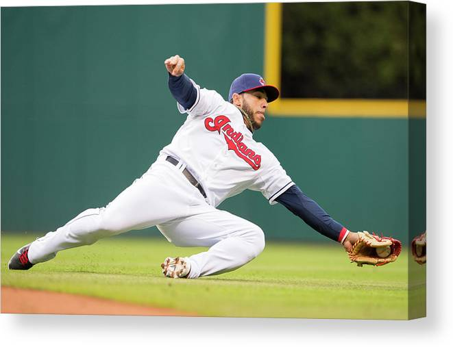 American League Baseball Canvas Print featuring the photograph Mike Aviles by Jason Miller
