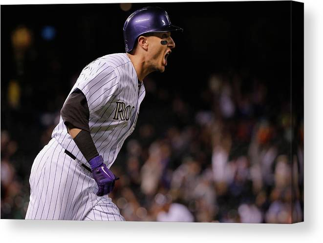 Mike Bolsinger Canvas Print featuring the photograph Mike Bolsinger and Troy Tulowitzki by Doug Pensinger