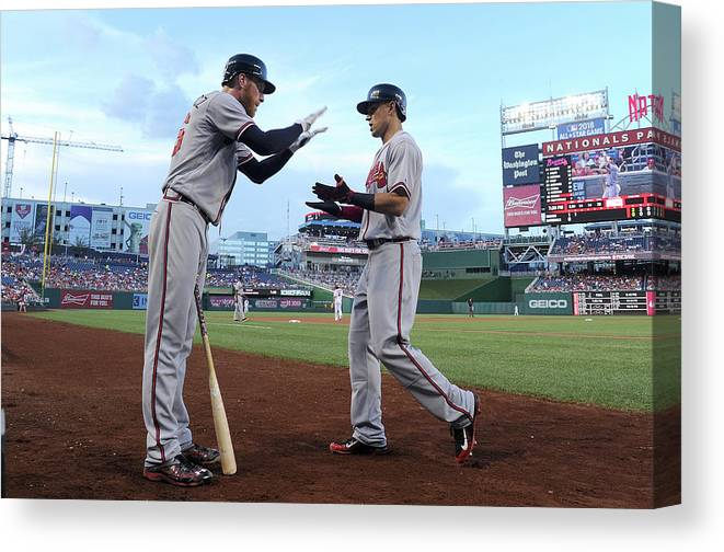 Second Inning Canvas Print featuring the photograph Mike Foltynewicz And Jace Peterson by Greg Fiume