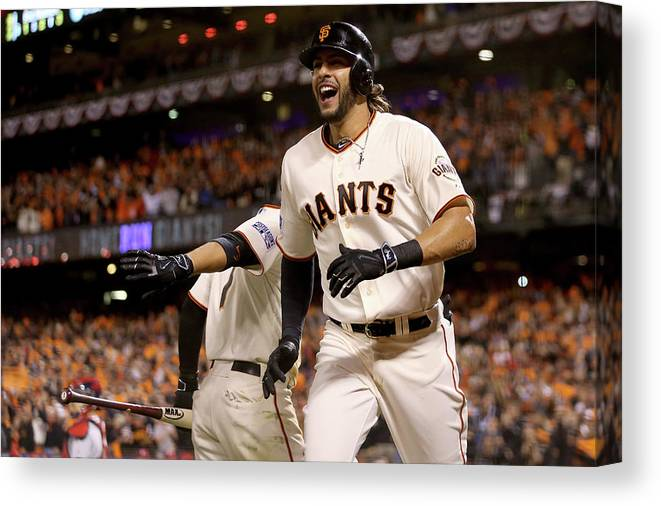 Playoffs Canvas Print featuring the photograph Mike Morse by Christian Petersen