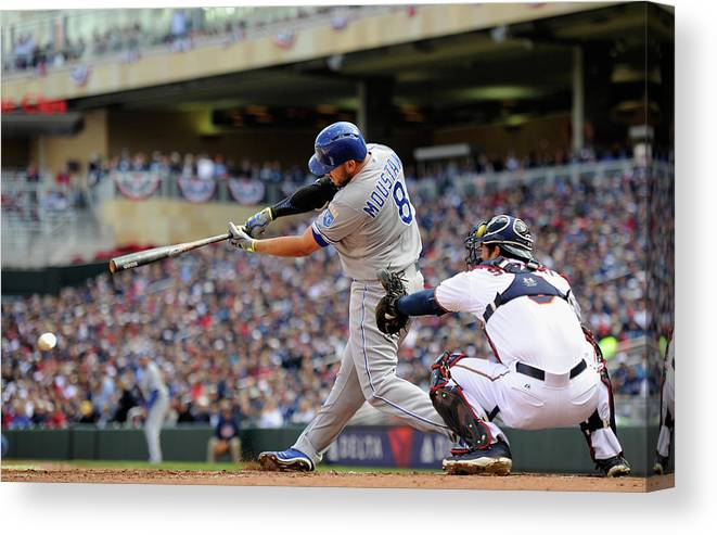 Second Inning Canvas Print featuring the photograph Mike Moustakas by Hannah Foslien