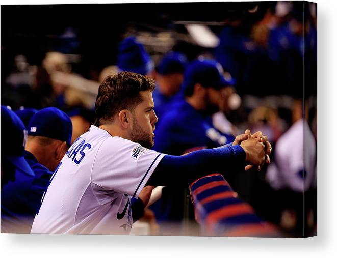 People Canvas Print featuring the photograph Mike Moustakas by Rob Carr