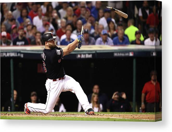 People Canvas Print featuring the photograph Mike Napoli by Ezra Shaw