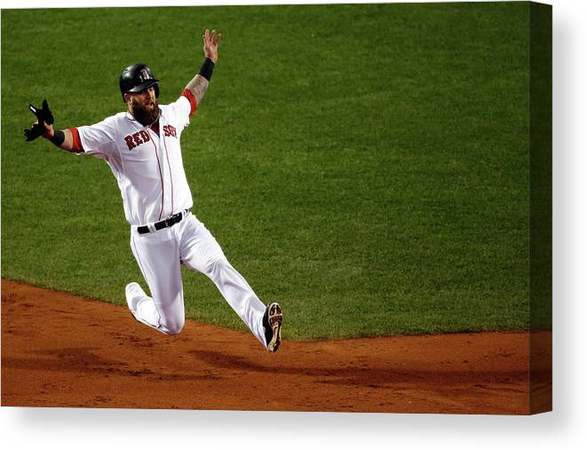 American League Baseball Canvas Print featuring the photograph Mike Napoli by Jim Rogash