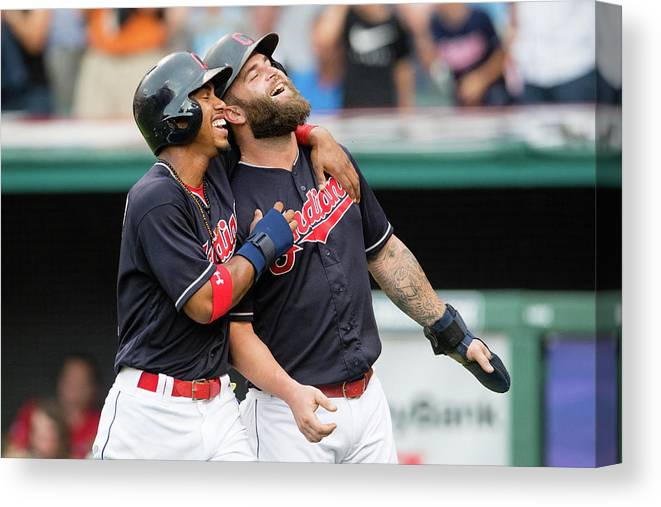 Three Quarter Length Canvas Print featuring the photograph Mike Napoli, Lonnie Chisenhall, and Francisco Lindor by Jason Miller