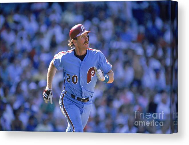 1980-1989 Canvas Print featuring the photograph Mike Schmidt by John Williamson