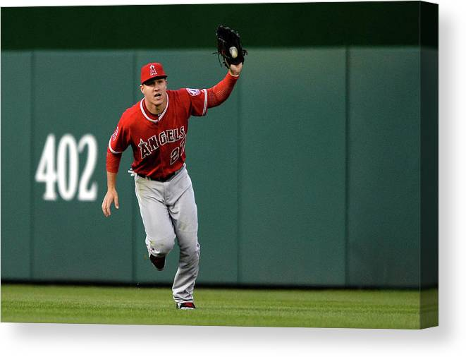 Mike Trout Canvas Print featuring the photograph Mike Trout and Bryce Harper by Patrick Smith