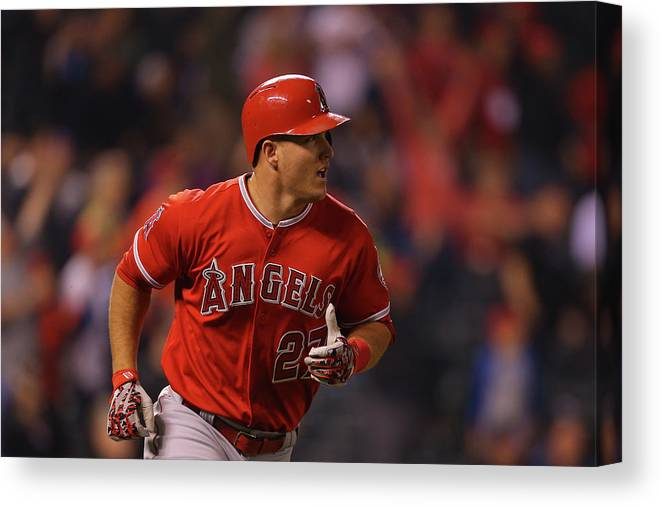 People Canvas Print featuring the photograph Mike Trout by Justin Edmonds