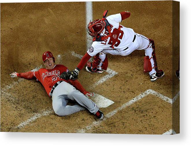 Baseball Catcher Canvas Print featuring the photograph Mike Trout by Patrick Smith