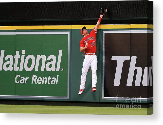 People Canvas Print featuring the photograph Mike Trout by Sean M. Haffey