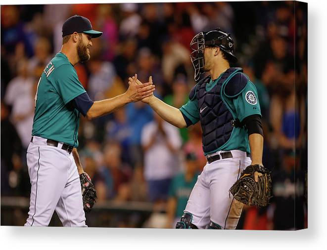 Baseball Catcher Canvas Print featuring the photograph Mike Zunino and Tom Wilhelmsen by Otto Greule Jr