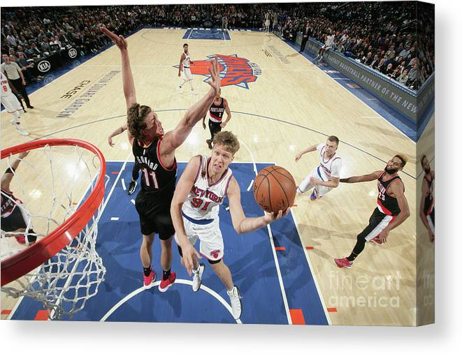 Nba Pro Basketball Canvas Print featuring the photograph Mindaugas Kuzminskas by Nathaniel S. Butler