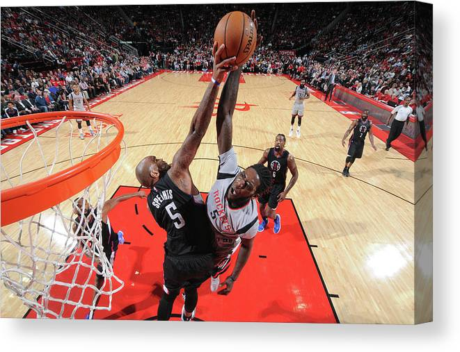 Nba Pro Basketball Canvas Print featuring the photograph Montrezl Harrell and Marreese Speights by Bill Baptist