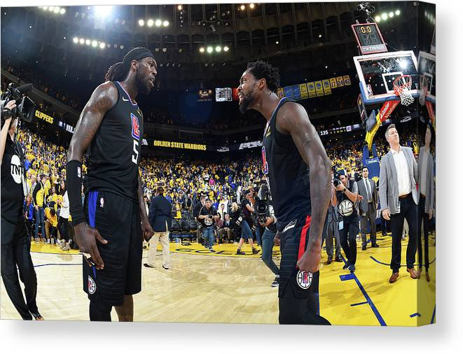 Playoffs Canvas Print featuring the photograph Montrezl Harrell and Patrick Beverley by Andrew D. Bernstein
