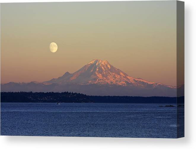 3scape Canvas Print featuring the photograph Moon Over Rainier by Adam Romanowicz