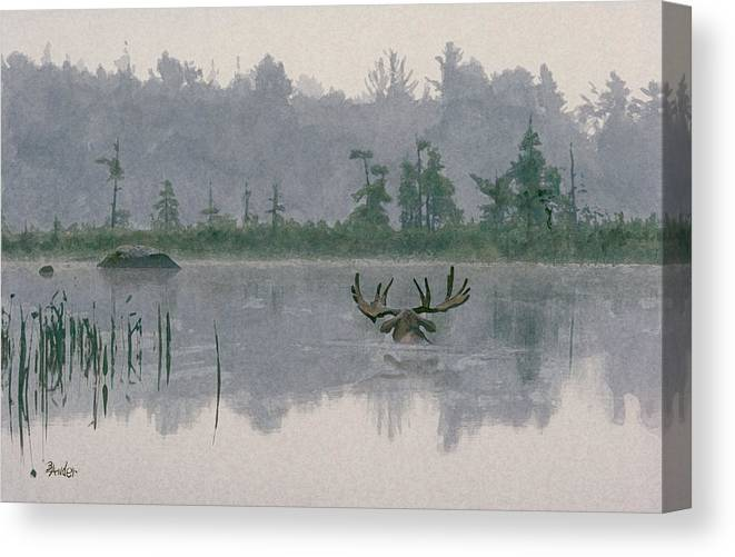 Moose Canvas Print featuring the painting Moose Crossing by Brent Ander