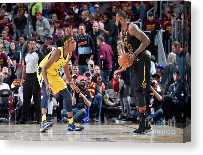 Playoffs Canvas Print featuring the photograph Myles Turner and Lebron James by David Liam Kyle