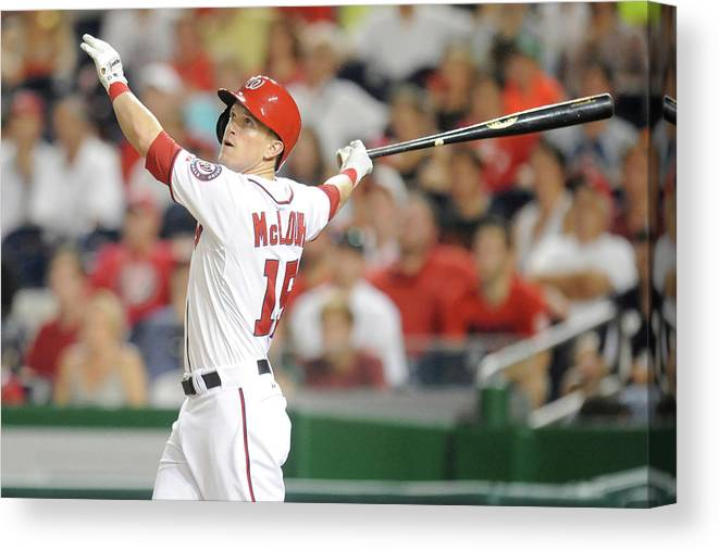American League Baseball Canvas Print featuring the photograph Nate Mclouth by Mitchell Layton
