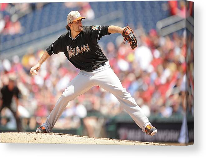 Second Inning Canvas Print featuring the photograph Nathan Eovaldi by Mitchell Layton