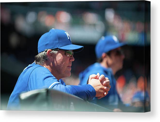 American League Baseball Canvas Print featuring the photograph Ned Yost by Rob Tringali